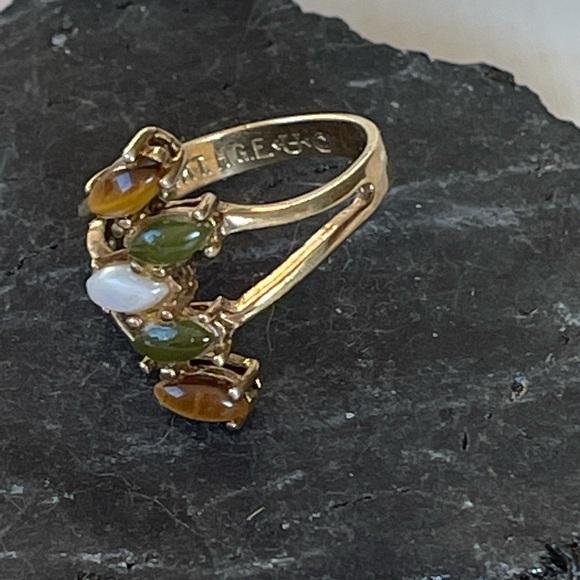 Vintage 70's Jade & Tigereye Ring 14k gold plated